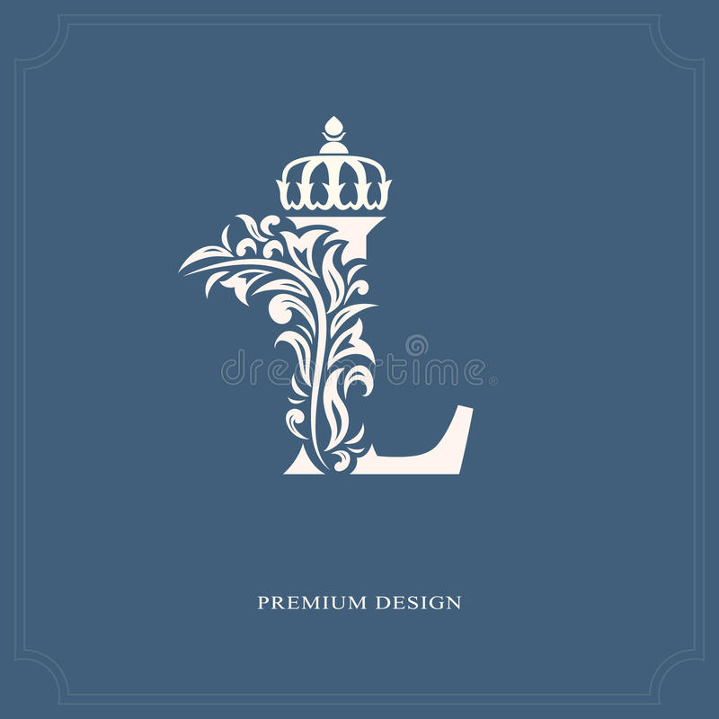 Elegant letter L with a crown. Graceful royal style. Calligraphic beautiful logo. Vintage drawn emblem for book design, brand name. Vector illustration of stock illustration
