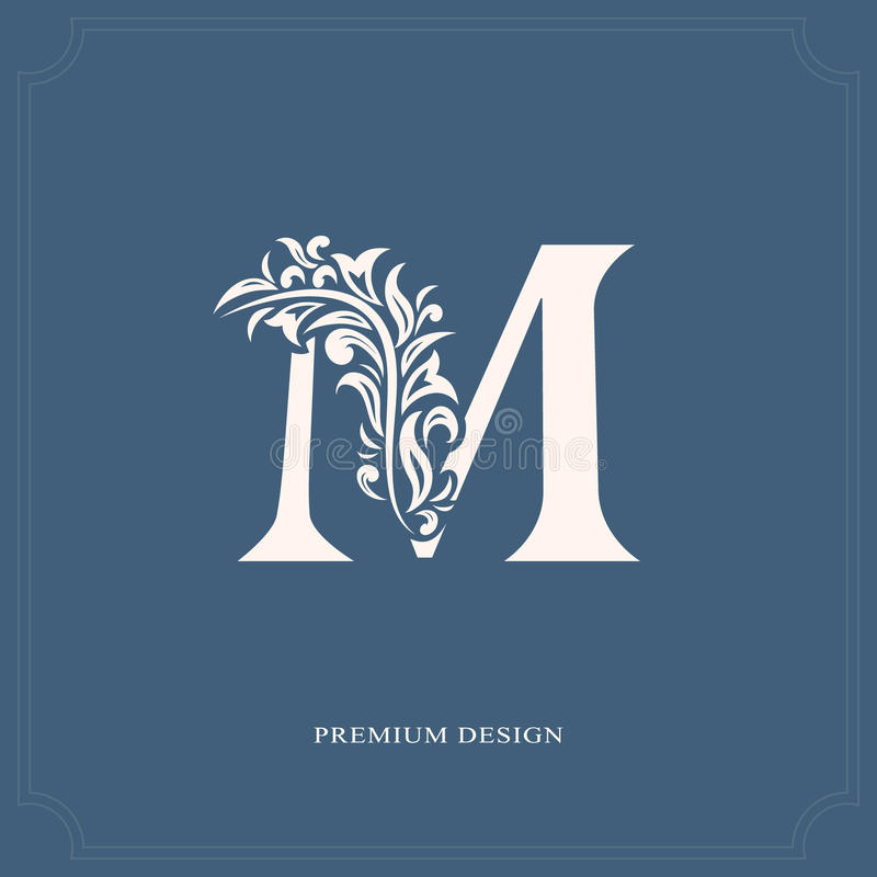 Elegant letter M. Graceful royal style. Calligraphic beautiful logo. Vintage drawn emblem for book design, brand name, business ca. Rd, Restaurant, Boutique stock illustration