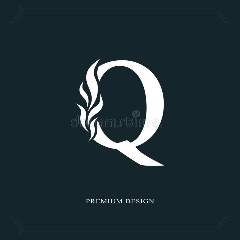 Download Elegant Letter Q Graceful Royal Style Calligraphic Beautiful Logo Vintage Drawn Emblem