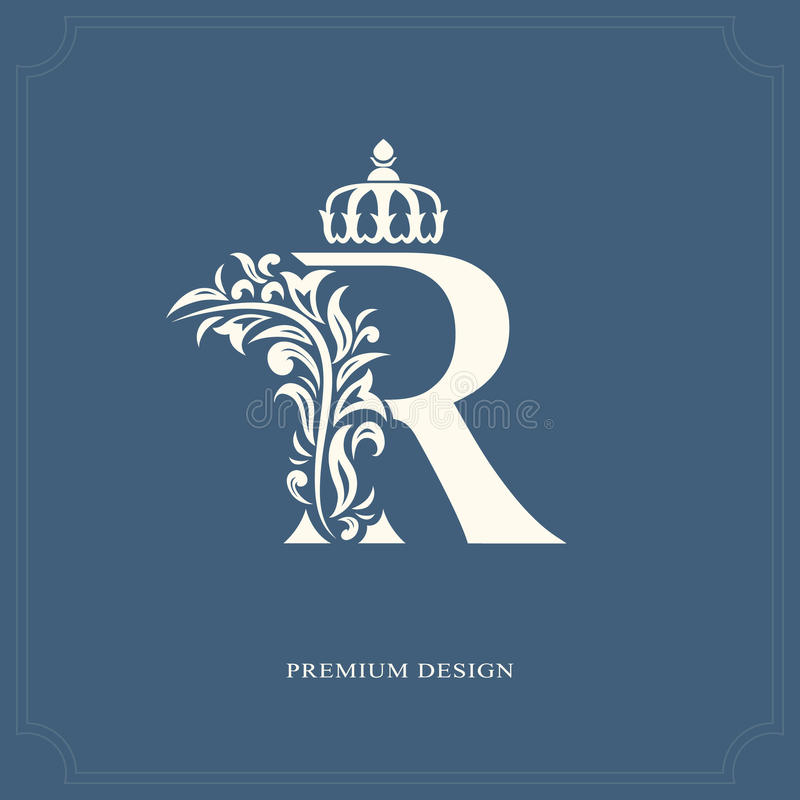 Elegant letter R with a crown. Graceful royal style. Calligraphic beautiful logo. Vintage drawn emblem for book design, brand name. Vector illustration of stock illustration