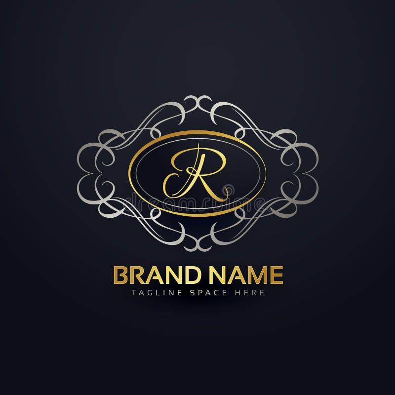 Elegant letter R logo design in floral monogram style vector illustration