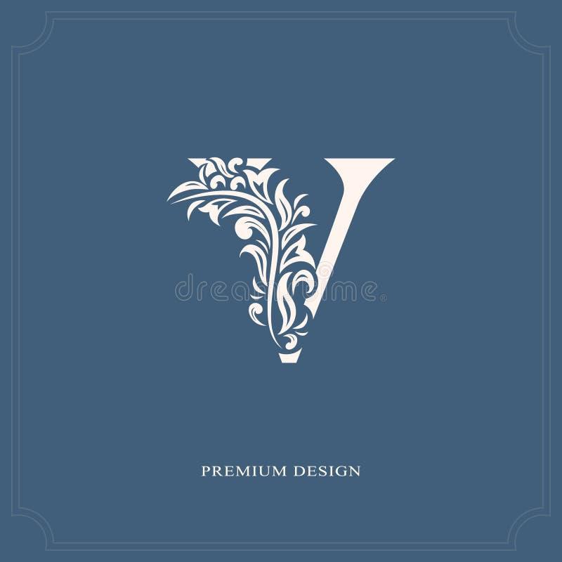 Elegant letter V. Graceful royal style. Calligraphic beautiful logo. Vintage drawn emblem for book design, brand name, business ca. Rd, Restaurant, Boutique royalty free illustration
