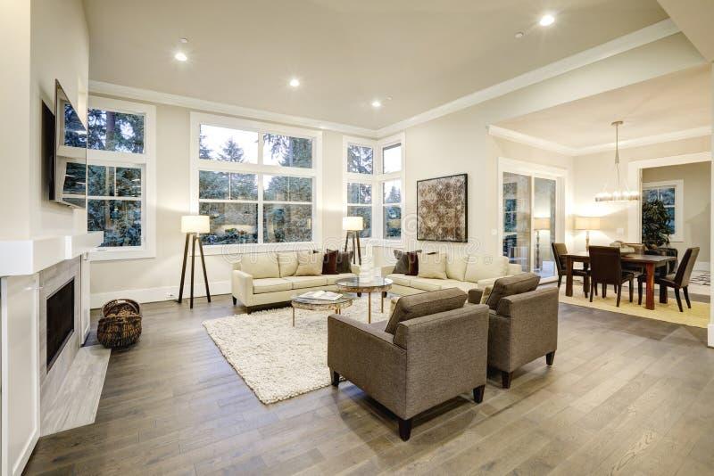 Elegant licht woonkamerontwerp met donkere vloeren royalty-vrije stock foto's
