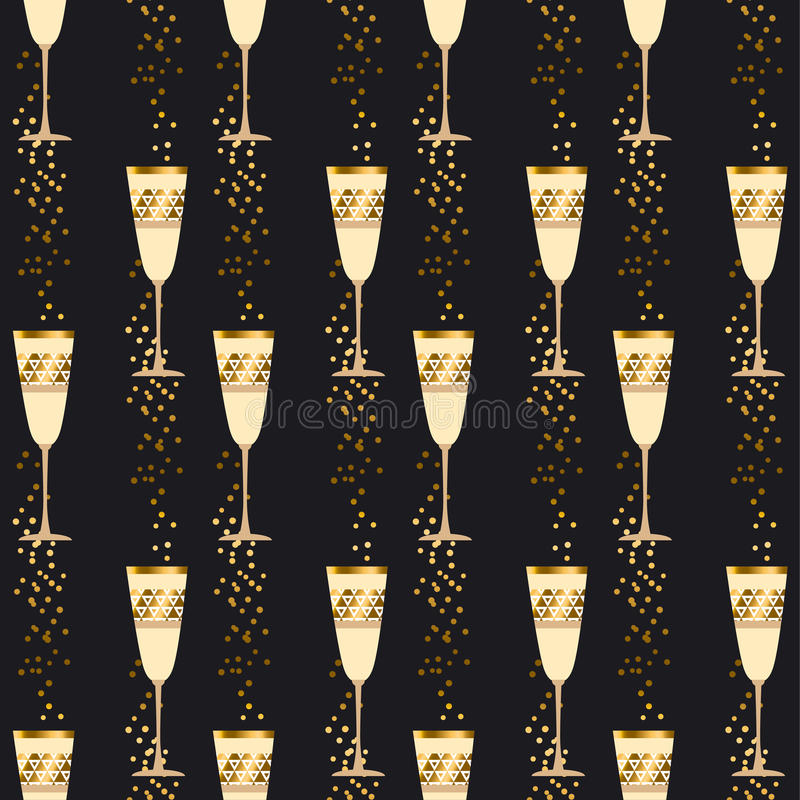 Elegant light seamless pattern with sparkling wine glasses. On black background. celebration repeatable motif with golden champagne for wrapping paper royalty free illustration