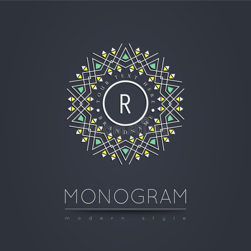 Elegant lineair abstract monogram, het malplaatje van het embleemontwerp royalty-vrije stock foto