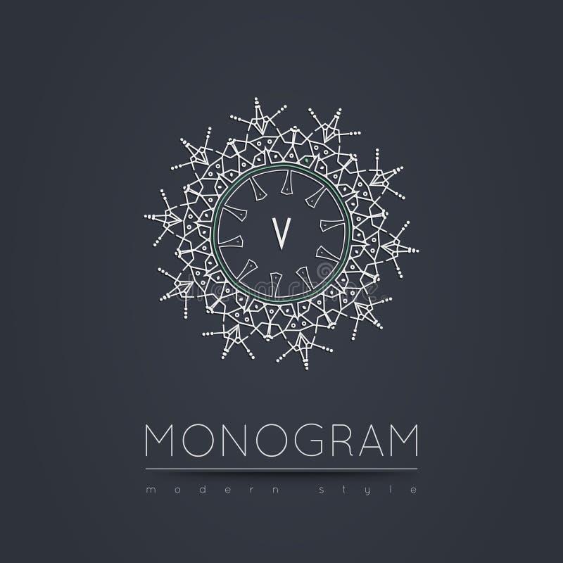 Elegant lineair abstract monogram, het malplaatje van het embleemontwerp stock foto