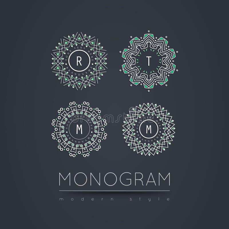 Elegant lineair abstract monogram, het malplaatje van het embleemontwerp royalty-vrije stock afbeeldingen