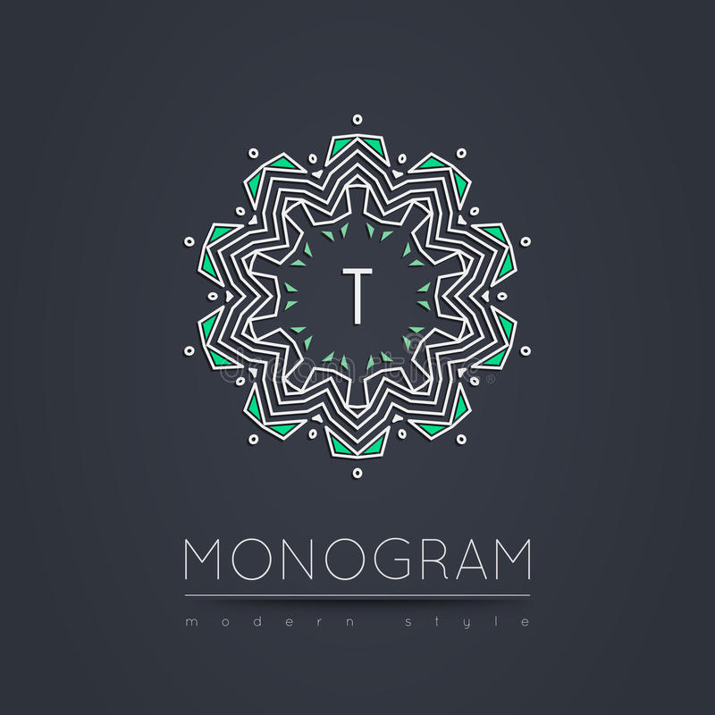 Elegant linear abstract monogram, logo design template. royalty free stock photo