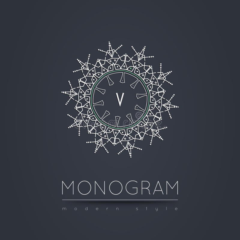 Elegant linear abstract monogram, logo design template. stock photo