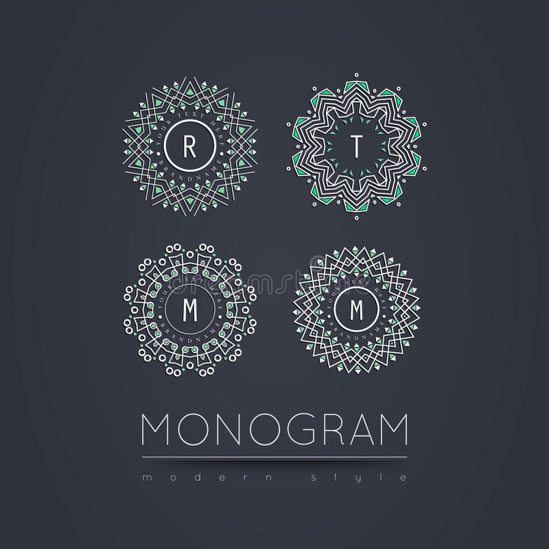 Elegant linear abstract monogram, logo design template. royalty free stock images