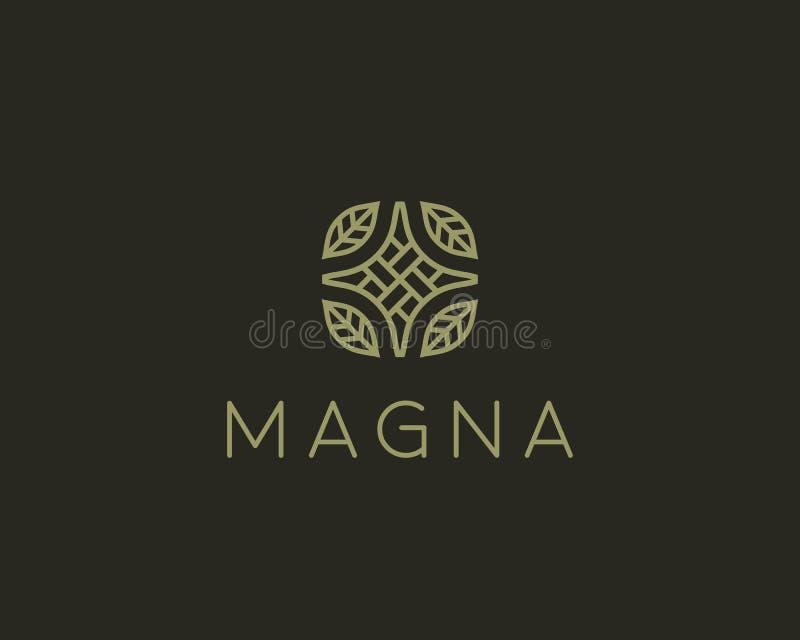 Elegant linear logo vector design. Creative organic leaf homemade logotype. Elegant linear logo vector design. Creative organic leaf homemade logotype vector illustration