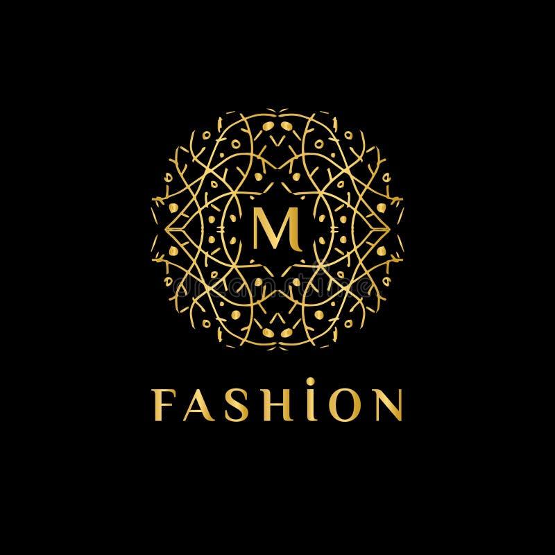 Elegant linjär abstrakt monogram, vektormall Lyxig logo för boutique eller restaurang vektor illustrationer