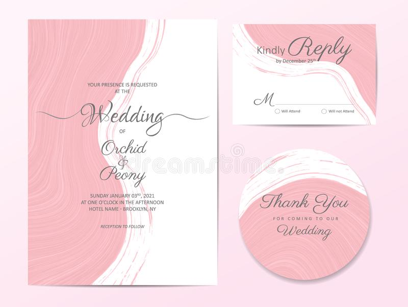 Elegant liquid marble textures wedding invitation cards template. Modern soft pink poster abstract background, greeting royalty free illustration