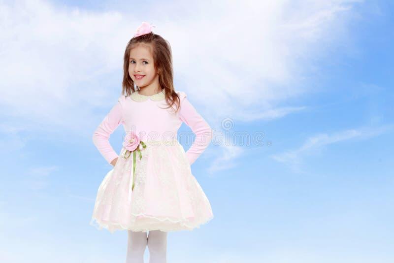 Elegant liten flicka i en rosa klänning fotografering för bildbyråer