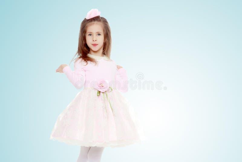 Elegant liten flicka i en rosa klänning arkivfoto