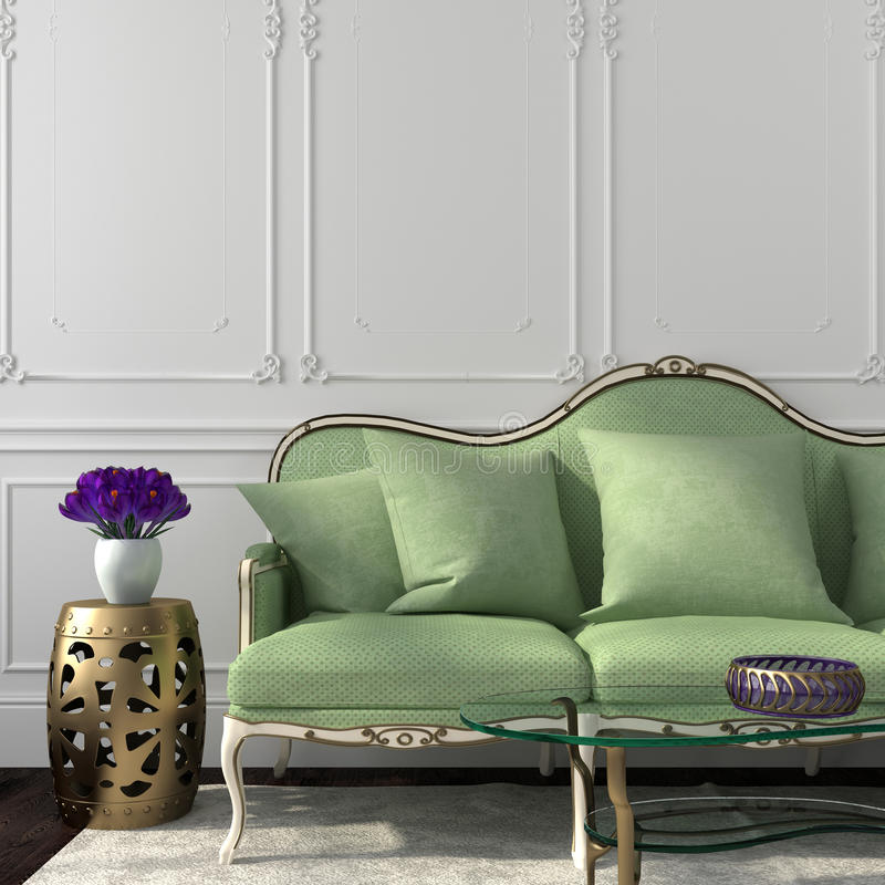 Elegant living room with green sofa and table. Beautiful Living in a classic style with an emphasis on green sofa stock photography