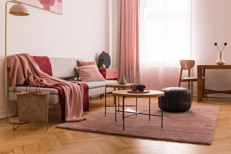 Elegant living room interior with trendy grey sofa with pastel pink pillow and burgundy blanket, wooden coffee tables next to it. Concept photo royalty free stock images