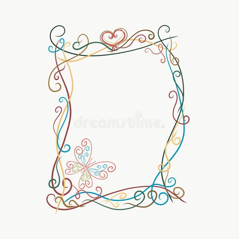Elegant ljus ram med fjärilar, målade linjer med virvlar stock illustrationer