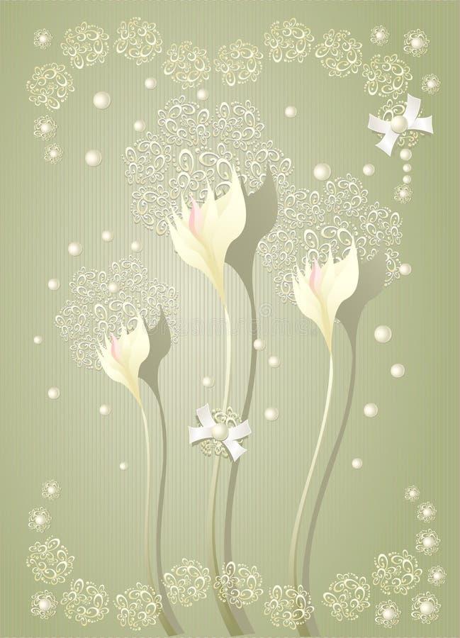 Elegant ljus scrapbooking blom- bakgrund stock illustrationer