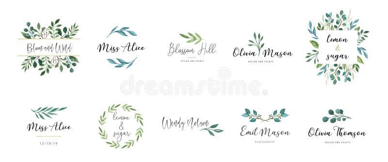 Elegant logos, Wedding monograms, hand drawn elegant, delicate collection vector illustration