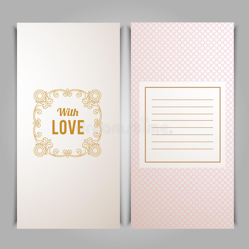 Elegant With Love card template with pink seamless lace pattern vector illustration