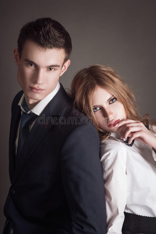 Elegant lovely couple royalty free stock photos