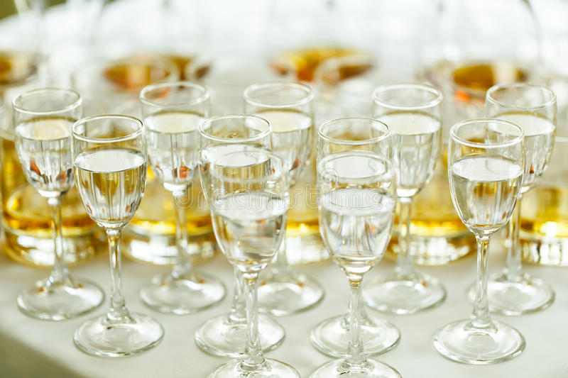 Elegant and luxury alcohol table wine champagne cognac at wedding reception royalty free stock images