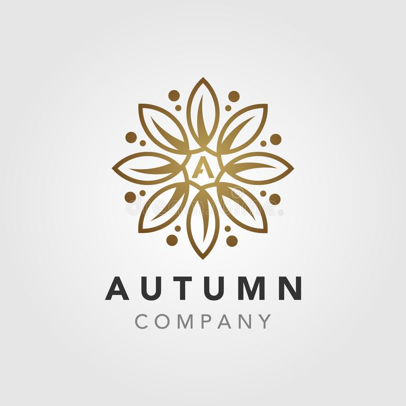 Elegant Luxury autumn Flower Mandala logo design royalty free illustration