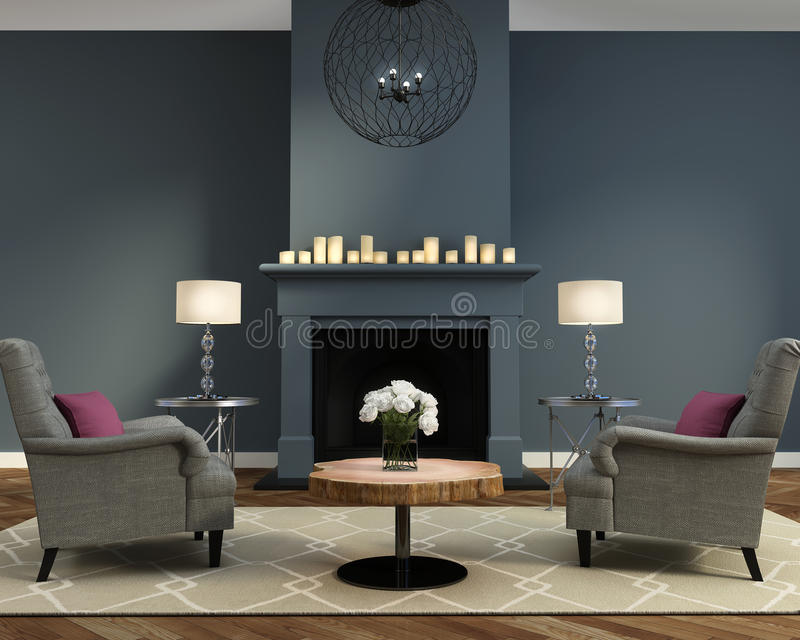 Elegant luxury contemporary living room with fireplace royalty free illustration