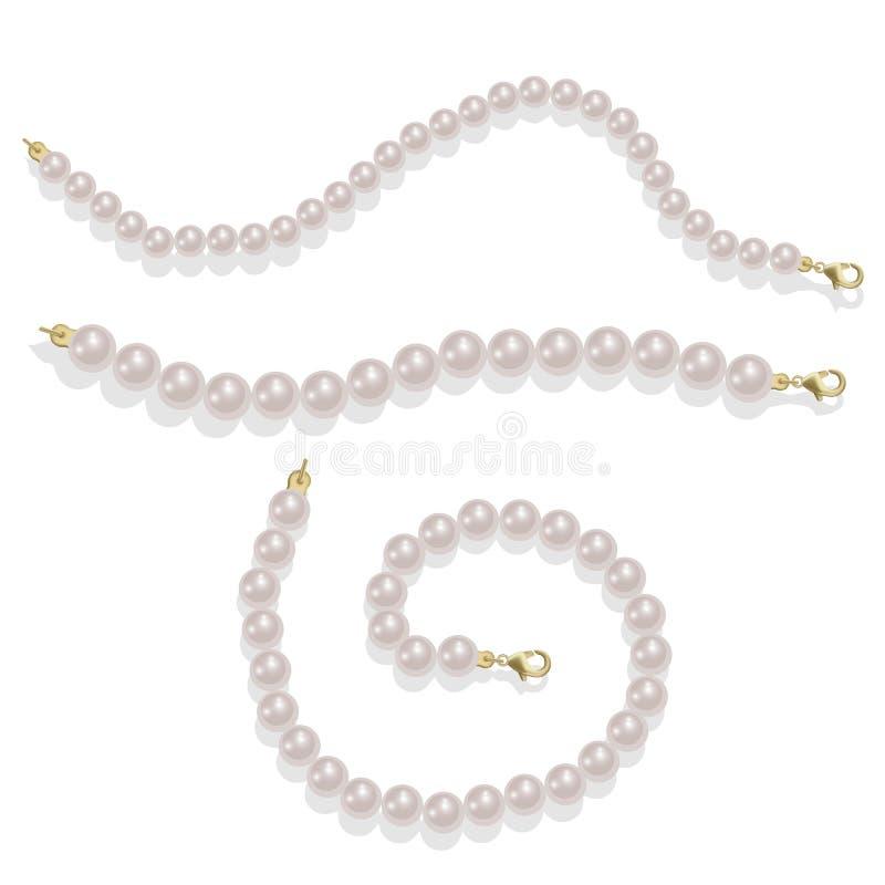 Elegant luxury decoration feminine with pearl bead illustration Pearl glamour borders. Vector illustration isolated on white. Elegant luxury decoration feminine vector illustration