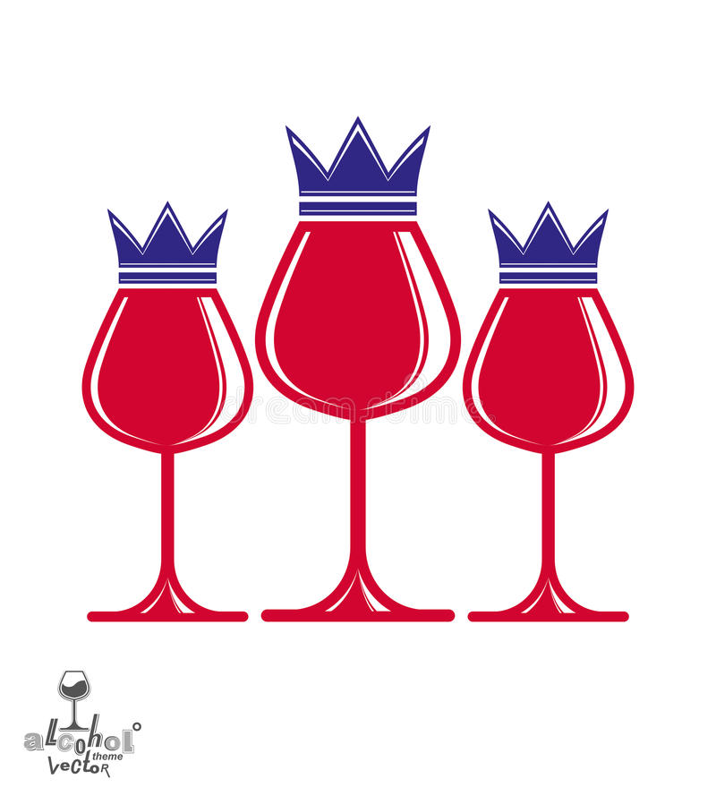 Elegant luxury wineglasses with king crown, graphic artistic vector goblets collection. Three full glasses of red wine vector ill stock illustration