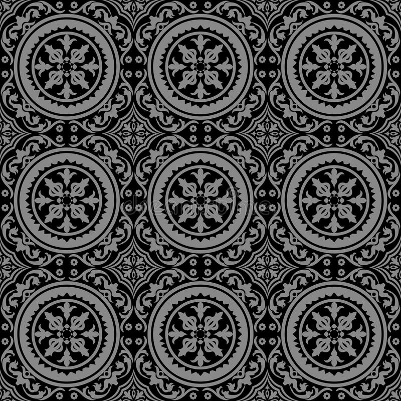 Elegant mörk antik bakgrundsbild av växten för vinranka för rundaspiralblomma royaltyfri illustrationer