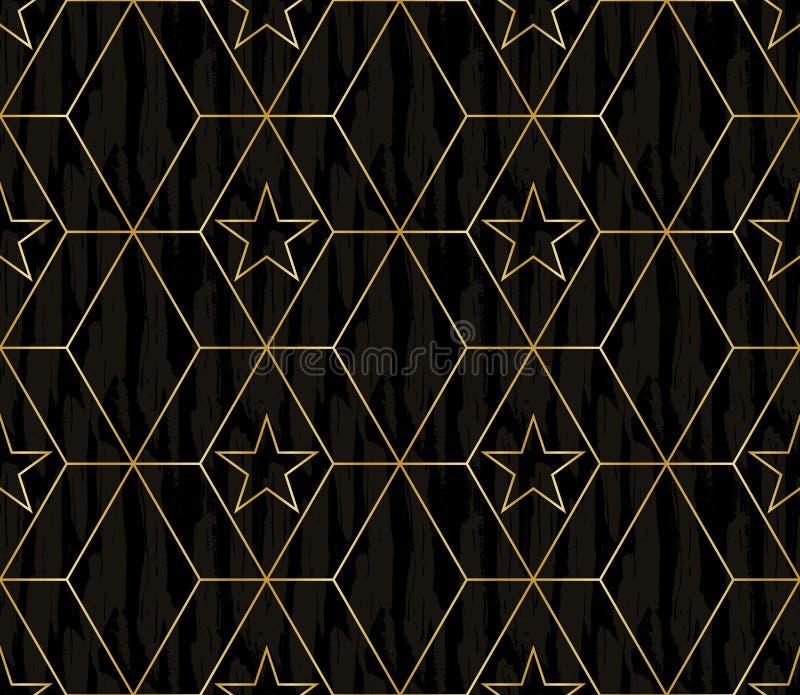 Elegant mörkt trä och guld- abstrakt geometrisk design av stjärnor på överlappande sexhörningar i en minimalist linje konststil vektor illustrationer