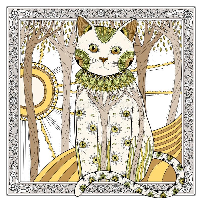 Elegant magic cat royalty free illustration