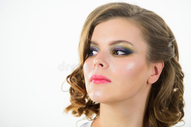 Elegant makeup concept. Retro and vintage. Girl with perfect healthy skin and beautiful makeup. Girl retro hairstyle and stock photography