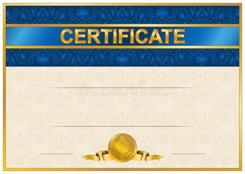 Elegant mall av certifikatet, diplom royaltyfri fotografi