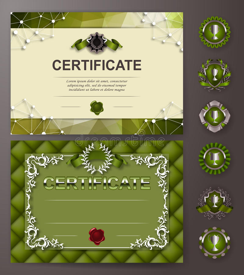 Elegant mall av certifikatet, diplom vektor illustrationer