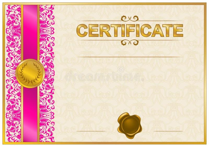 Elegant malplaatje van certificaat, diploma vector illustratie
