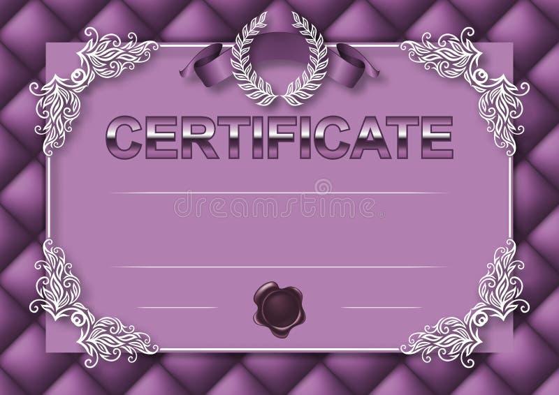 Elegant malplaatje van certificaat, diploma royalty-vrije illustratie