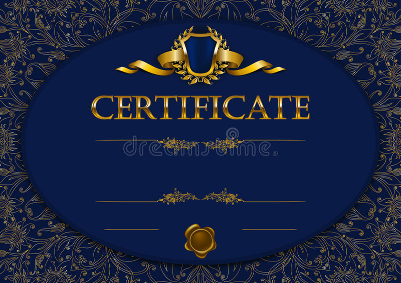 Elegant malplaatje van certificaat, diploma stock illustratie