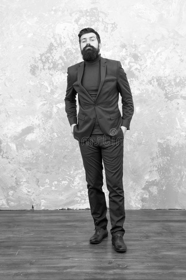 Elegant man with beard. Brutal bearded hipster in formal suit. Modern life. Male fashion model in formal suit. Mature. Businessman walking. Tailor or fashion royalty free stock photos