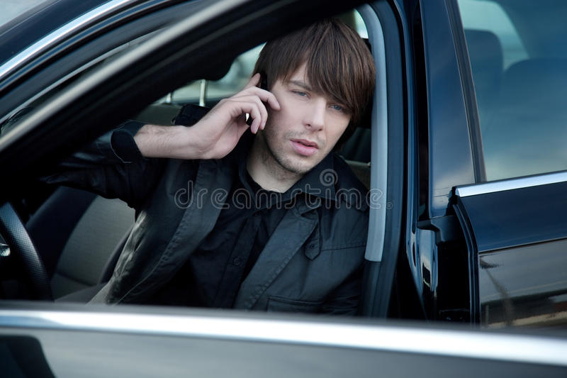 Download Elegant man in a car stock image. Image of cell, metal - 12307253