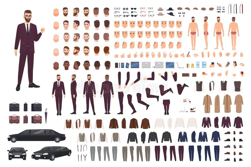 Elegant man dressed in business or smart suit creation set or DIY kit. Collection of body parts, stylish clothes, faces. Postures. Male cartoon character royalty free illustration