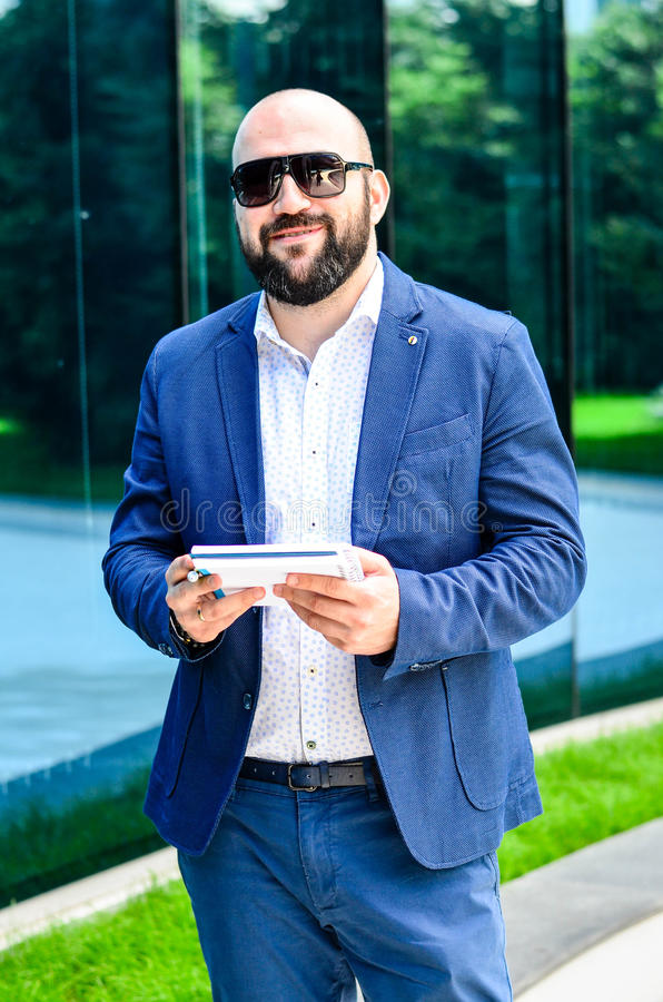 Elegant man outdoor royalty free stock photo