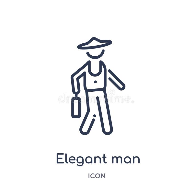 elegant man with suitcase icon from people outline collection. Thin line elegant man with suitcase icon isolated on white royalty free illustration