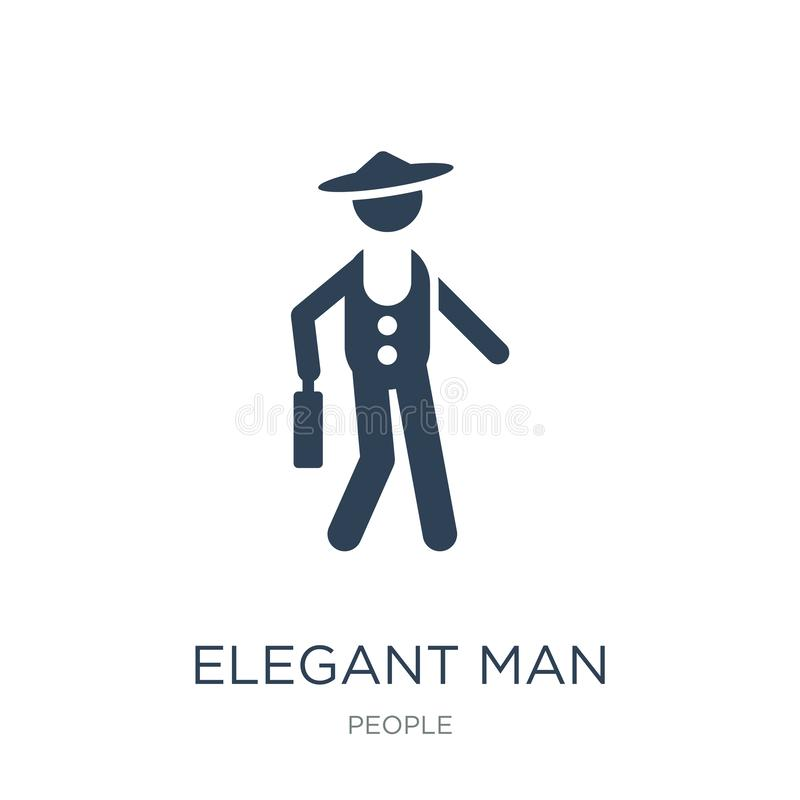elegant man with suitcase icon in trendy design style. elegant man with suitcase icon isolated on white background. elegant man stock illustration