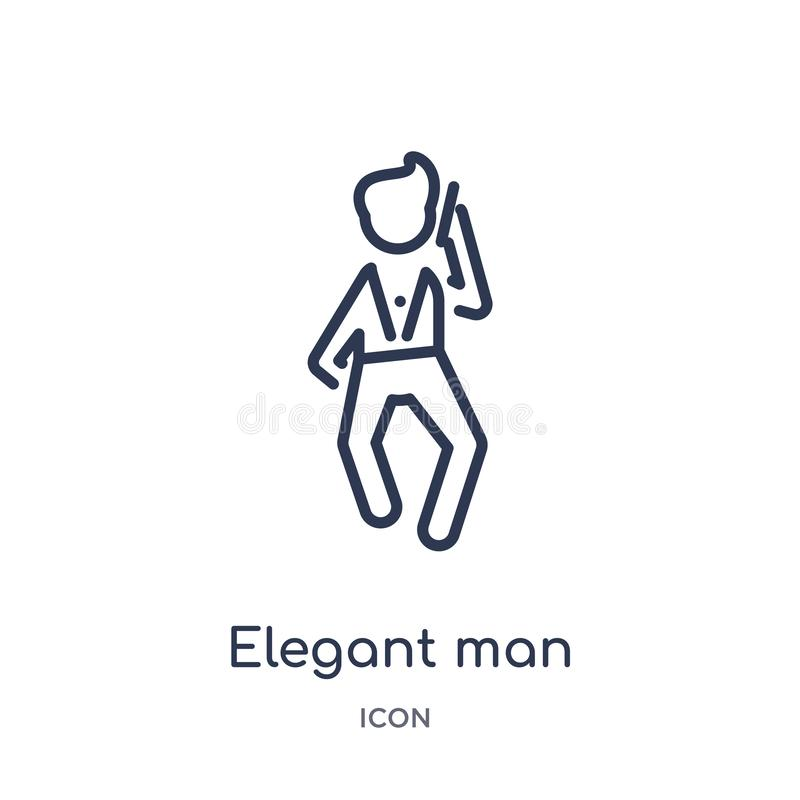 elegant man talking through phone icon from people outline collection. Thin line elegant man talking through phone icon isolated royalty free illustration