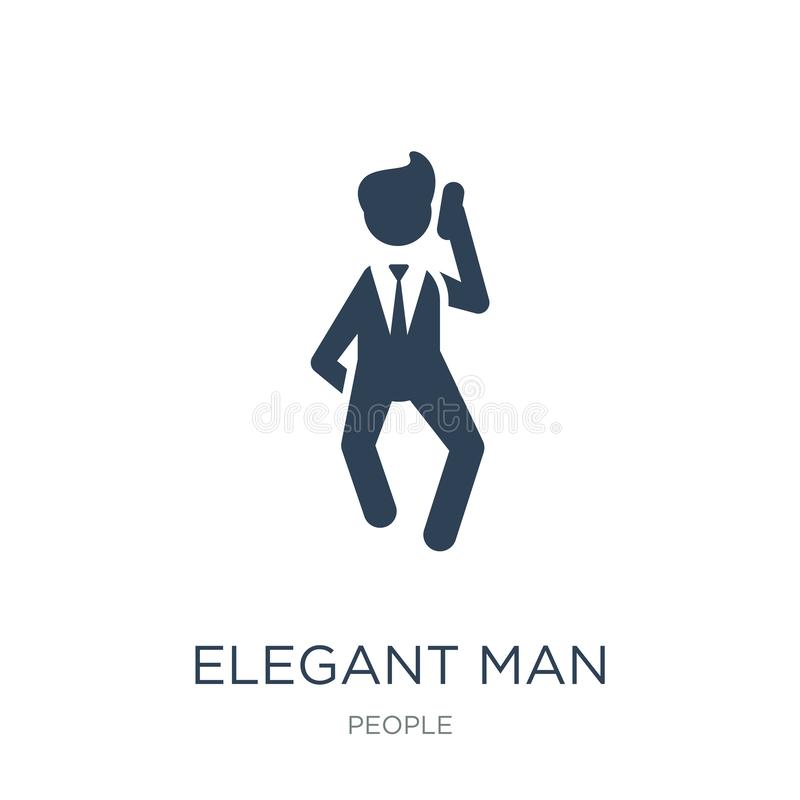 Elegant man talking through phone icon in trendy design style. elegant man talking through phone icon isolated on white background. Elegant man talking through vector illustration