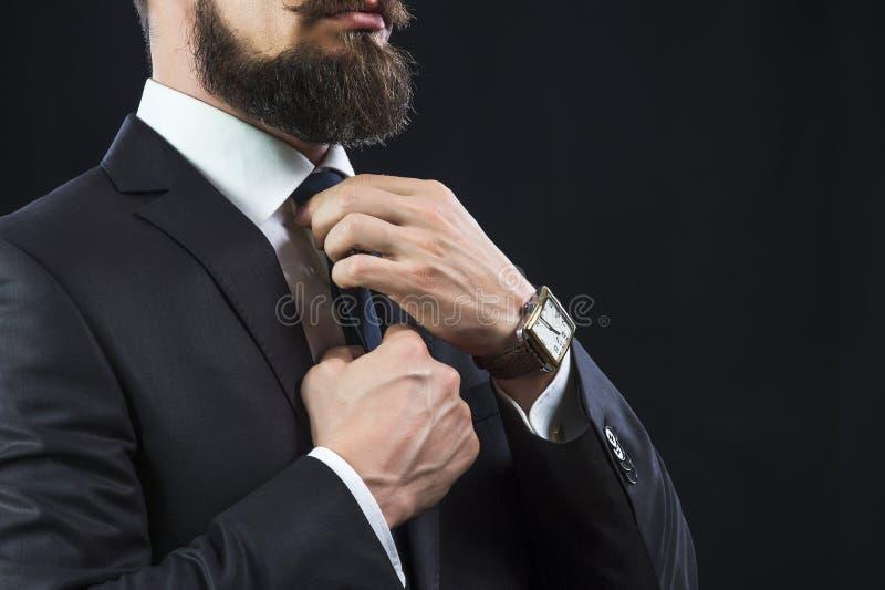 Elegant man tying up his tie royalty free stock images