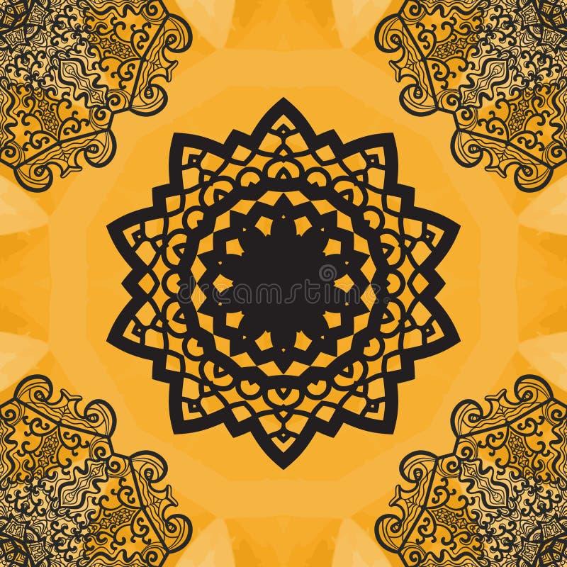 Elegant mandala-som sömlös textur Hand-dragen yogayantrablomma vektor illustrationer
